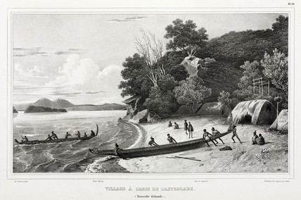 Maoris launching canoes, Astrolabe Strait, New Zealand, 1826-1829.