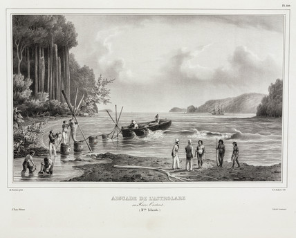 Collecting drinking water, Carteret Haven, New Ireland, 1826-1829.