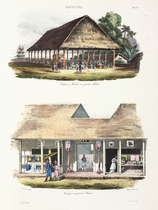 Market and shops, Ambon, 1826-1829.
