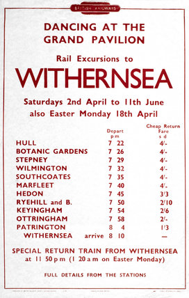 'Rail Excursions to Withernsea', BR poster, 1948-1965.
