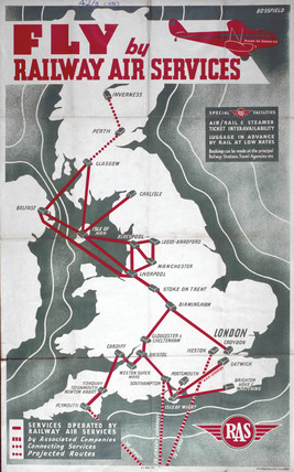 'Fly by Railway Air Services', RAS poster, 1936.