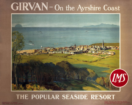 'Girvan, the popular seaside resort', LMS poster, c 1950s.