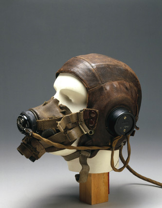 Leather flying helmet and mask, c 1946.