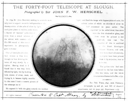 Early photograph of William Herschel's telescope at Slough, 1839.