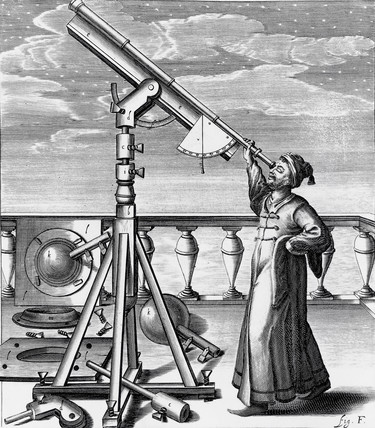 Astronomical telescope with observer, 1647.