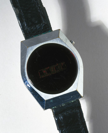 Fairchild digital quartz wristwatch with LED display, 1970-1979.