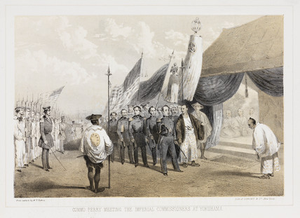 'Commodore Meeting Commisioners at Yokuhama', c 1853-1854.