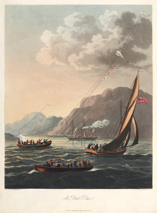 A boat race using kites as navigational aids or for power, 1827.