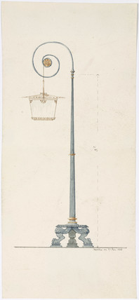Design for a neo-clasical lamp standard or street lamp, 1838.