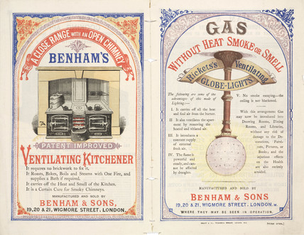 Gas cooking range and gas lights by Benham & Sons, late 19th century.