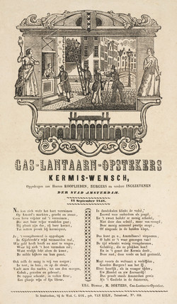 Gas lamplighters in Amsterdam, poster, 1848.