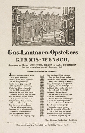 Gas lamplighters in Amsterdam, poster, 1843.