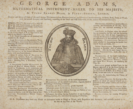 Trade card for George Adams, instrument maker to King George III, c 18th century.