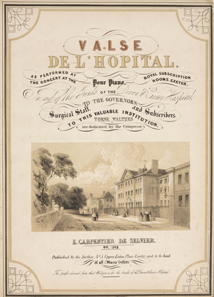 Title page to the sheet music for 'Valse de l'Hopital', 19th century.