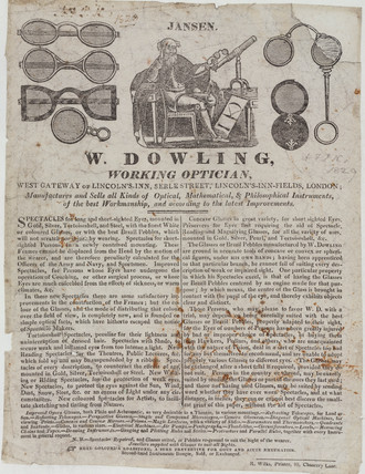 Trade card of W Dowling, optician, 19th century.