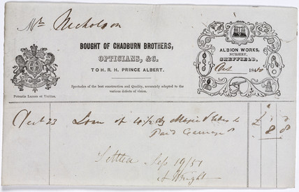 Receipt from Chadburn Brothers, opticians, 1850.