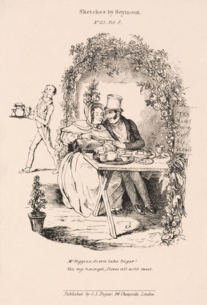 Courting scene in the garden of a country tea room, 1836.