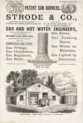 Advertisement for Strode & Co, gas and hot water engineers, late 19th century.