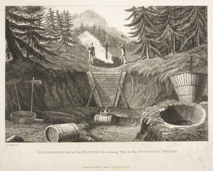 'Representation of the proces for making tar in the forests of Sweden', 1819.