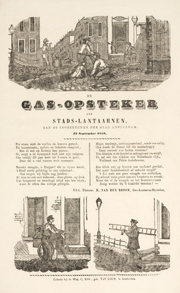 'The Gas-Lamp Lighters', Dutch notice, 1859.