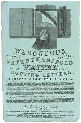 Wedgwood's 'Patent Manifold Writer for copying letters', 1834.