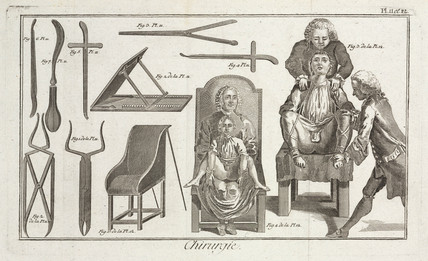 Surgeons and patients, 1780.