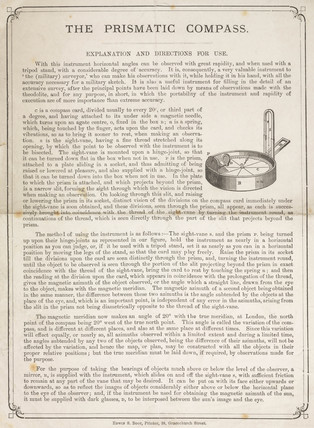 Explanation and directions for use of a prismatic compas, 19th century.