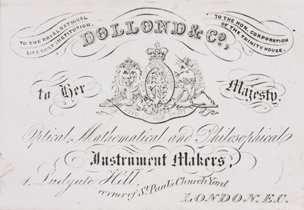 Trade card of Dollond & Co, scientific instrument makers, 19th century.