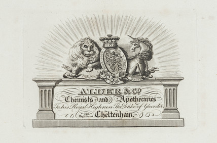 Trade card of Alder & Co, chemists and apothecaries, 19th century.