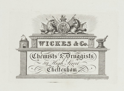Trade card of Wickes & Co, chemists and druggists, 19th century.