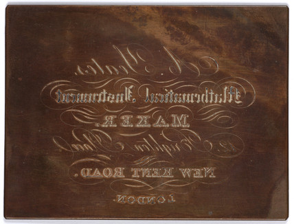 A copper plate used for instrument maker A Yeates's trade card, c 1800s.