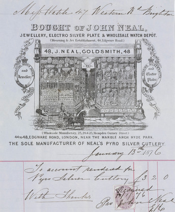 Receipt from John Neal, jewellers, 1876.