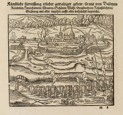 Attacking a fortified town using cannons, 1548.