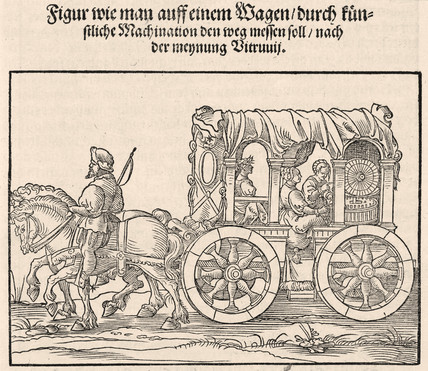 Machine for measuring the distance travelled by wagon, 1548.