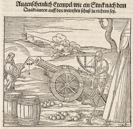 Measuring distance and angle for firing cannonballs using the quadrant, 1548.