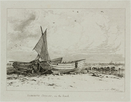 Yarmouth cobles on the beach, 1828.