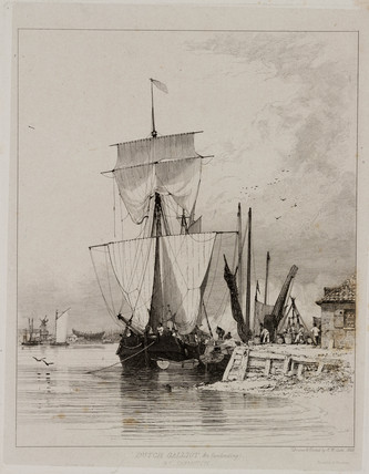 Dutch galliot unloading, Great Yarmouth, 1828.