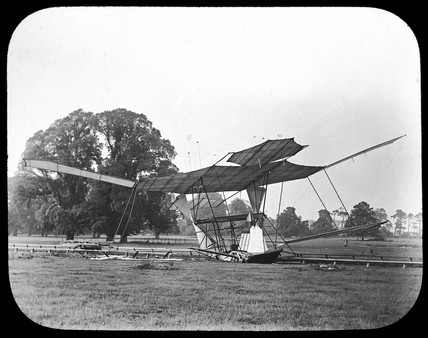Maxim's wrecked flying machine after its brief lift off, 31st July 1894.
