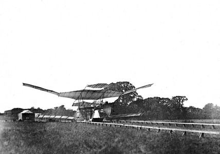Maxim's flying machine on its launch track, 1894.