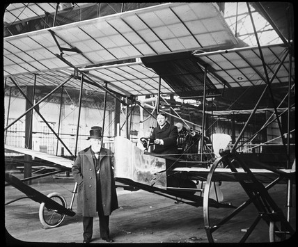 Sir Hiram Stevens Maxim with his 1910 aeroplane that never flew, c 1910.