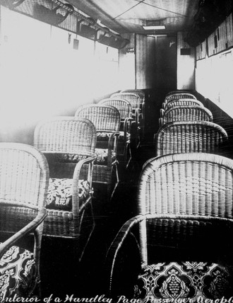 Interior of a Handley Page passenger aeroplane, c 1920s.