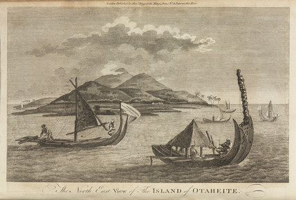 Native sailing vessels, Tahiti, c 1773.