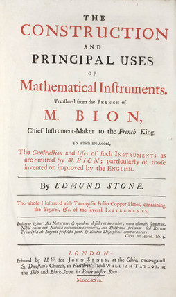Title page to Bion's book on mathematical instruments, 1723.