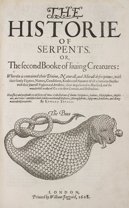 Title page of 'the Historie of Serpents', 1608.
