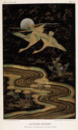 'Autumnal Landscape by Moonlight', Japanese lacquerwork, 1869.