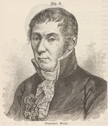 Alesandro Volta, Italian physicist and inventor, c 1800.
