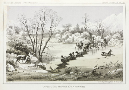 Crossing the Hellgate River, Montana, USA, 6 January 1854.