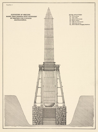 Obelisk with machinery in position for turning, c 1870s.