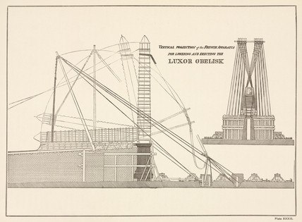 French apparatus for lowering and erecting the Luxor Obelisk, 19th century.