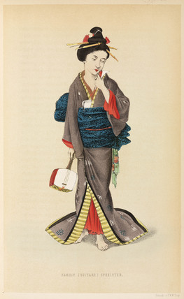 Woman with a musical instrument, Japan, 1867.
